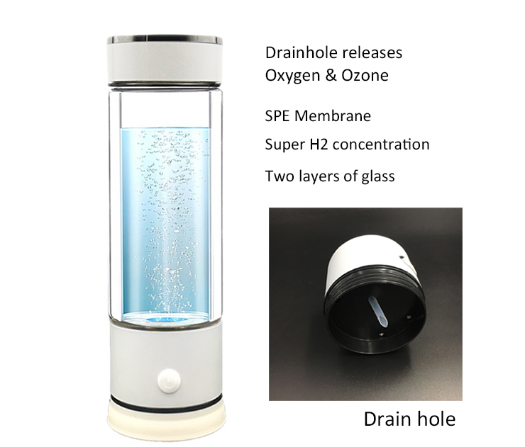 The 5th Generation SPE PEM Hydrogen Water Ionizer Bottle With Drain Hole Release Ozone and Chlorine
